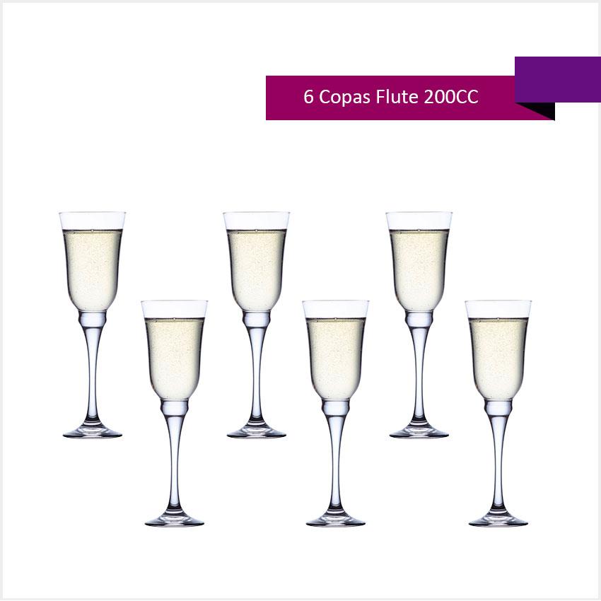 Set 6 Copas Flute 200 cc