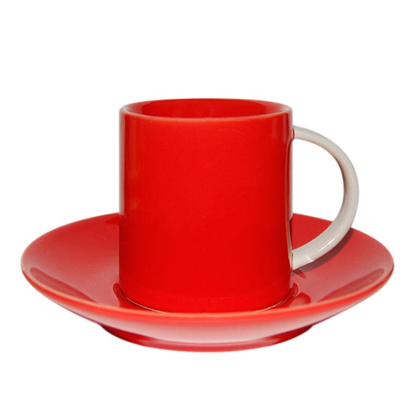 Taza + Plato Rojo de Café
