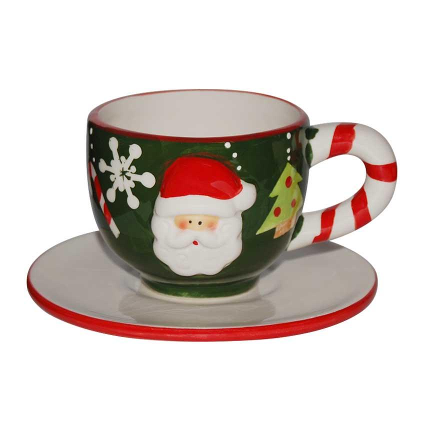 Taza café con plato Santa