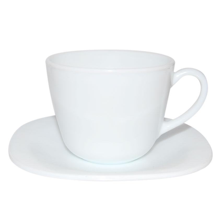 Taza + Plato Blanco de Té
