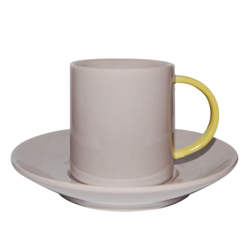 Taza + Plato Gris de Café