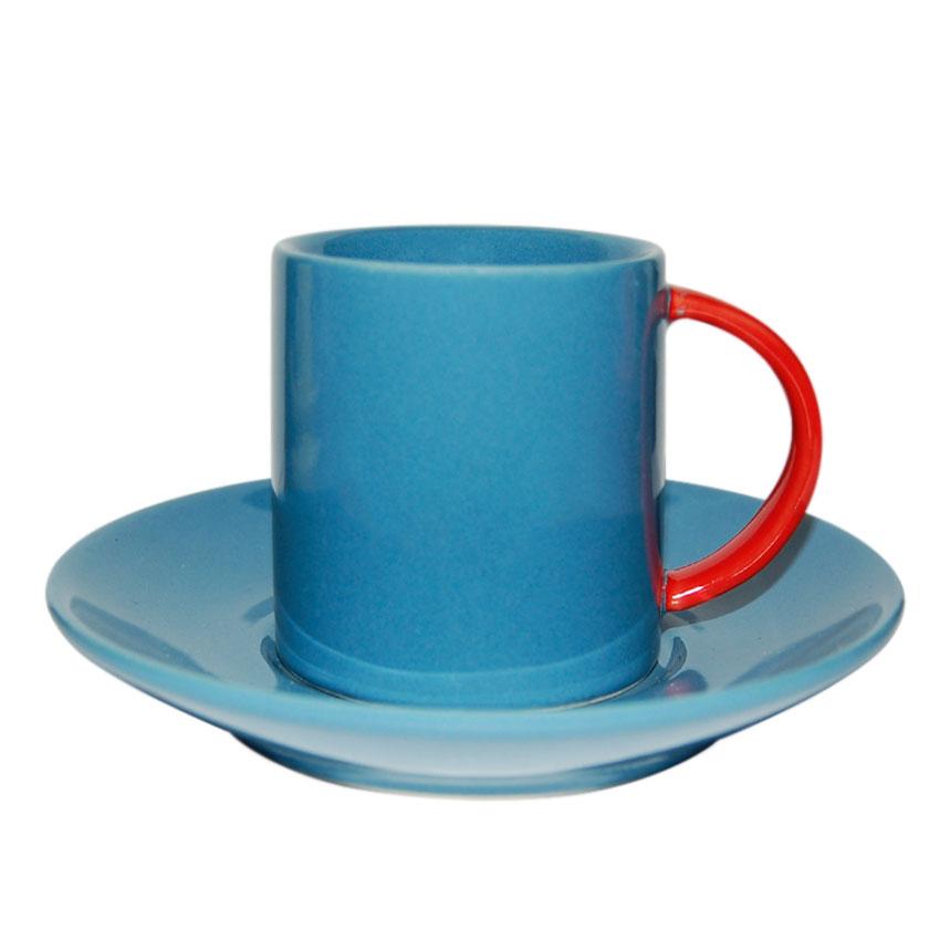 Taza + Plato Azul de Café